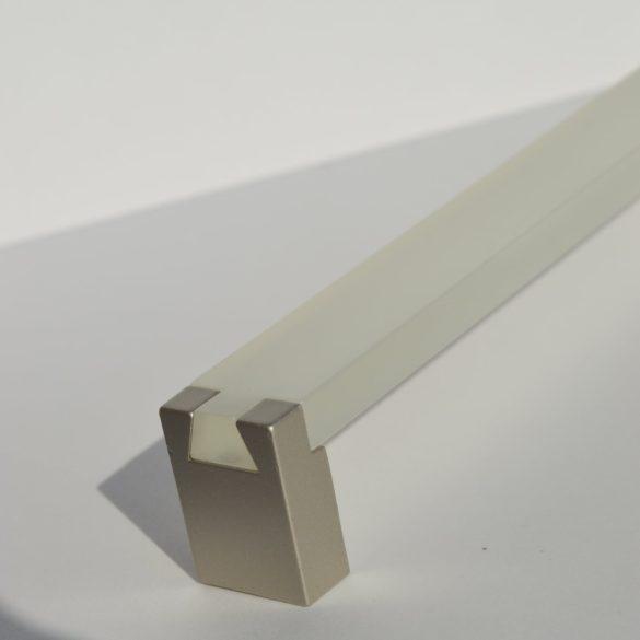Fém-műanyag bútorfogantyú, fehér akril és pezsgő fém végekkel, 160 mm furattávval