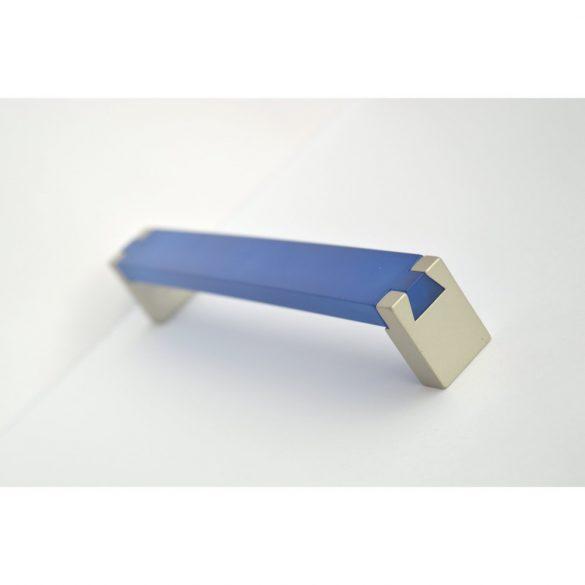 Fém-műanyag bútorfogantyú, pezsgő - kék akril színű, 160 mm furattávval