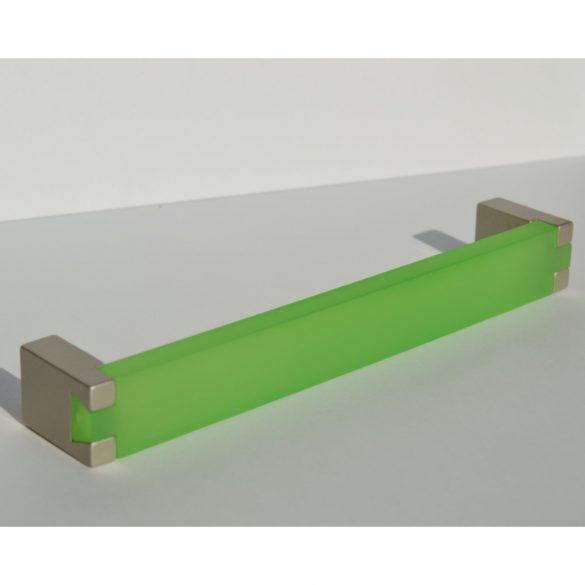 Fém-műanyag bútorfogantyú, zöld akril - pezsgő  végekkel, 160 mm furattávval