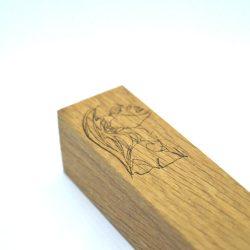 Massivholz, Eiche, graviert, geölter Möbelgriff, 64-96-128 mm Bohrung