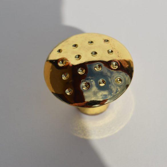Fém, gomb bútorfogantyú, arany színű, 28 mm átmérő