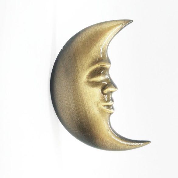Fém bútorgomb, antikolt bronz Hold motívum