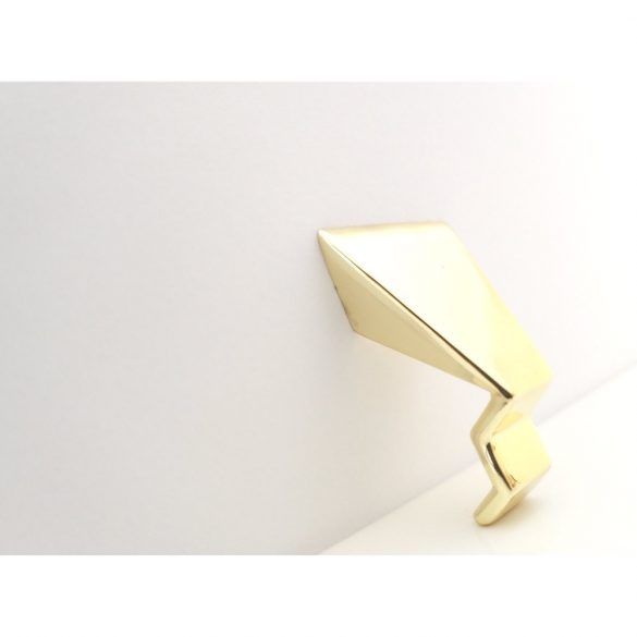 Metal furniture handle, 16 mm hole spacing, shiny gold colour