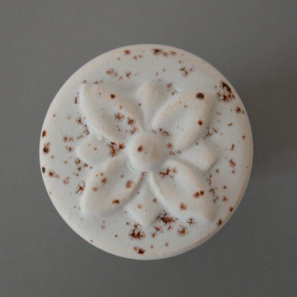 Porcelán gomb bútorfogantyú, fehér rozsdás hatás, bronz talp