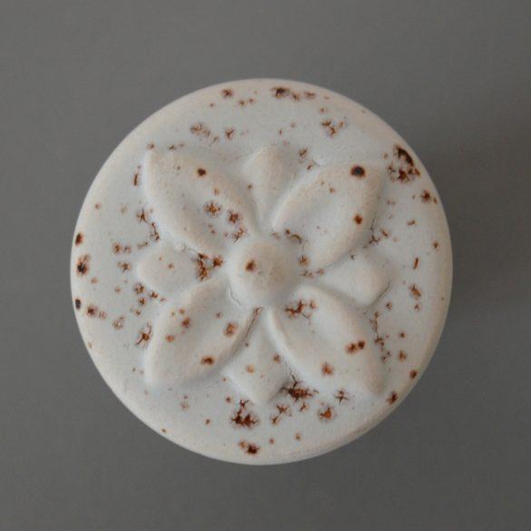 White-bronze color, metal-porcelain, knob furniture handle, rust effect