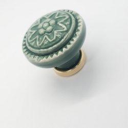 Green- gold sole color, metal- porcelain, button furniture handle