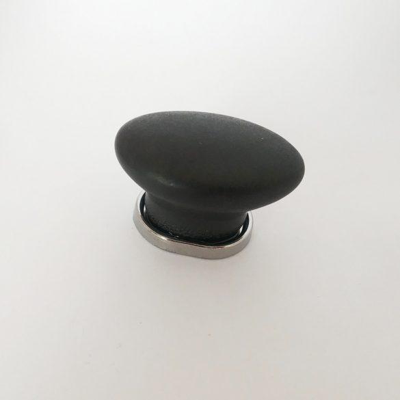 Metal-Porcelain furniture handl, matt Black, Oval Handle