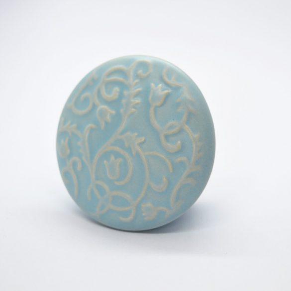 Blue colour, printed tulip pattern, porcelain button furniture handle