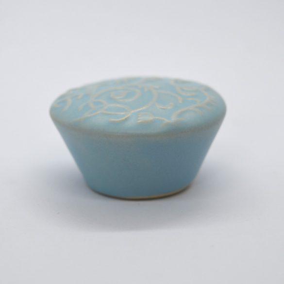 Porcelán, Kék gomb bútofogantyú, nyomott tulipános mintával, modern