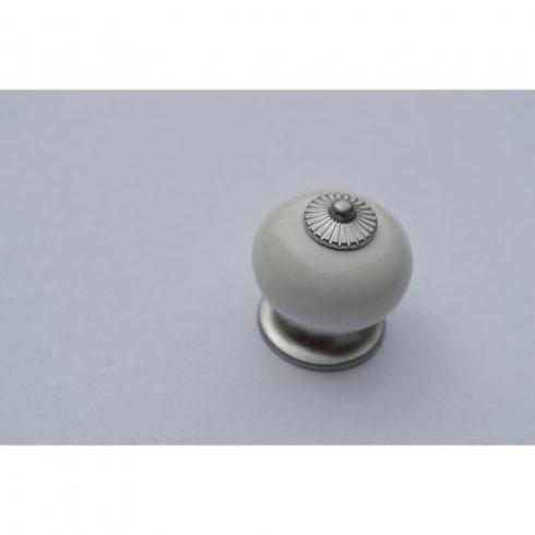 Fehér-ezüst, fém-porcelán gomb bútorfogantyú