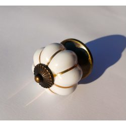 White - bronze, metal-porcelain furniture knob