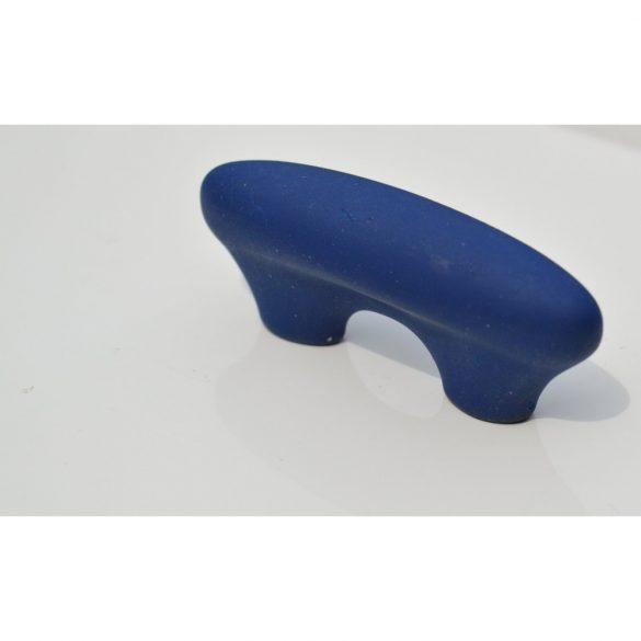 Bársony kék, műanyag bútorfogantyú, 32 mm furattáv, retro