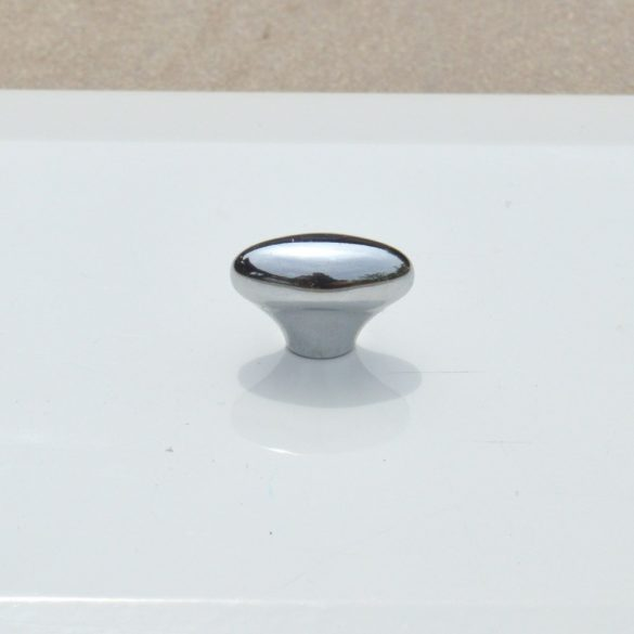 Fényes ezüst, műanyag gomb bútorfogantyú, retro