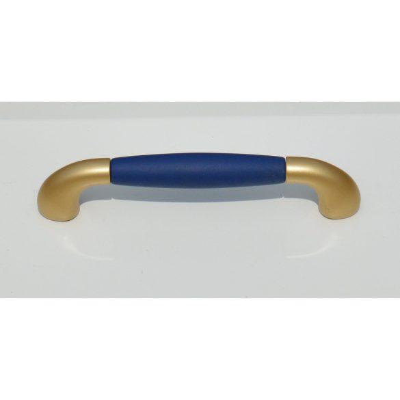 Műanyag bútorfogantyú, matt arany - bársony kék, 128 mm furattáv