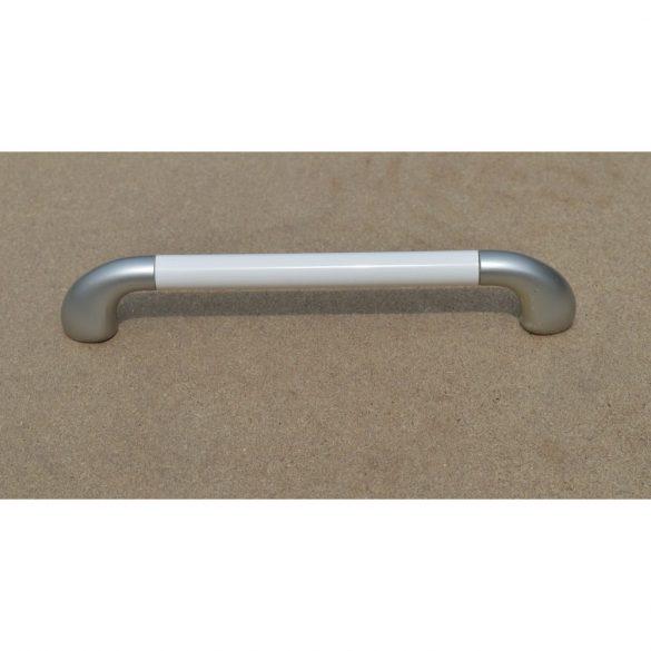 Műanyag bútorfogantyú, matt ezüst - fehér, 160 mm furattáv