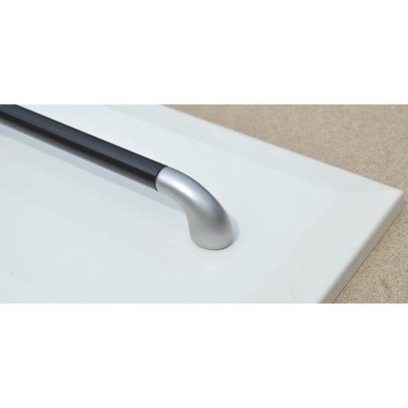 Műanyag bútorfogantyú, matt ezüst - fekete színű, 160 mm furattávval
