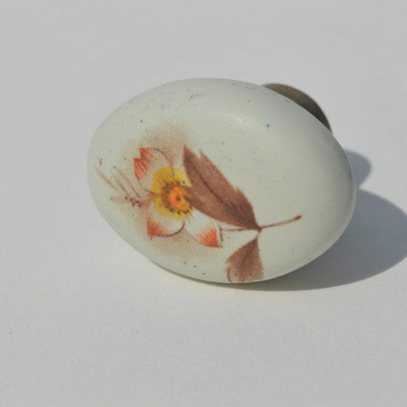 Fém-porcelán bútorgomb, antik bronz - bézs színű, virág motívummal