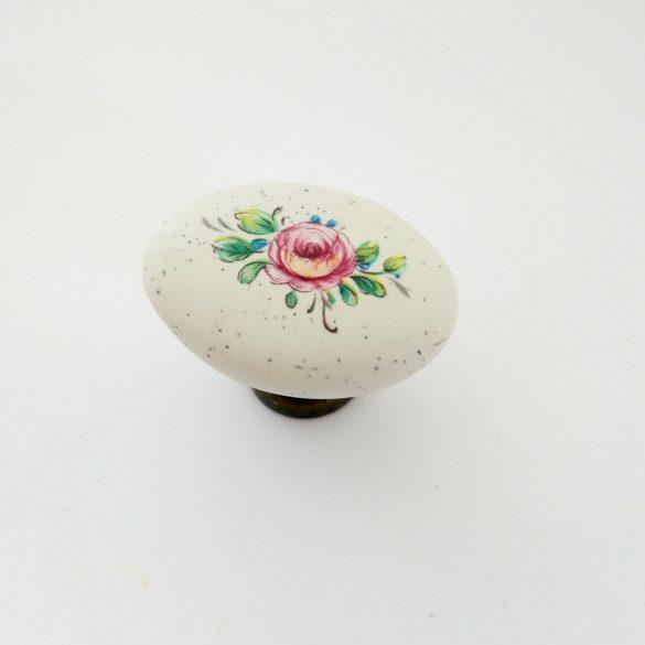 Fém-porcelán bútorgomb, bronz - elefántcsont színű, virág motívummal