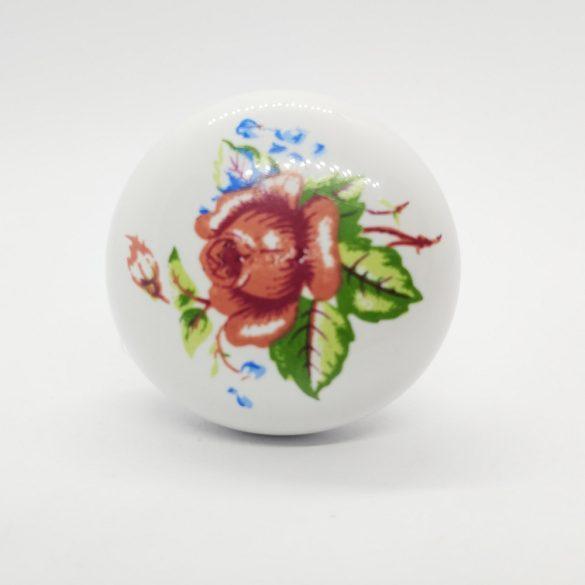 Fehér porcelán gomb fogantyú, rózsa mintával, bronz talp résszel
