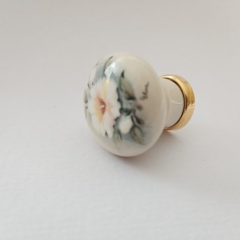 Porcelán-fém fogantyú, gomb, fényes arany- elefántcsont szín, virág motívum