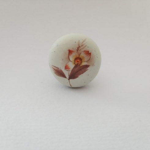 Porcelán-fém fogantyú, gomb, antik bronz - elefántcsont szín, barna virág motívum