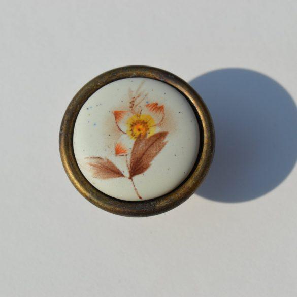 PORCELÁN-FÉM FOGANTYÚ, Gomb , Bronz - Matt Barna virág motívummal
