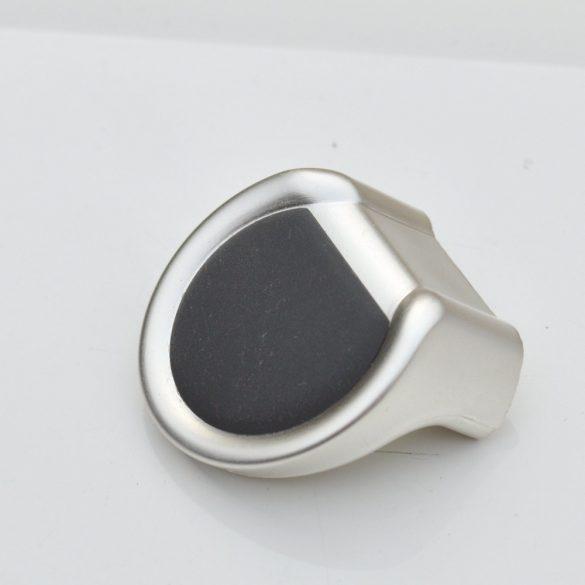 Matt ezüst-fekete, műanyag gomb bútorfogantyú, 16 mm furattávolsággal