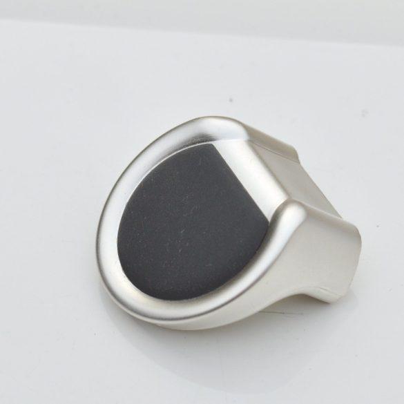 Matt silver - black plastic furniture knob