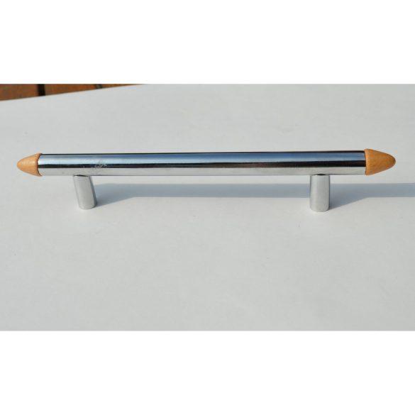 Fém bútorfogantyú,króm - bükkfa betéttel, 128 mm furattávolság
