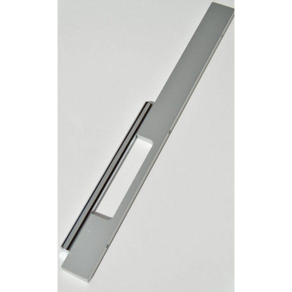 Fém bútorfogantyú, matt alumínium és fényes króm színkombinációjú, 128 mm furattávval