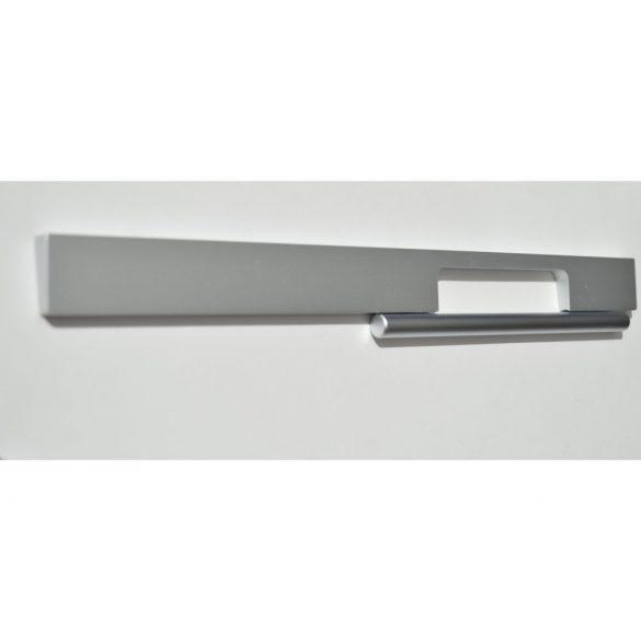 Metal furniture handle in matt aluminium and satin chrome colour combination