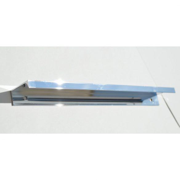 Metal furniture handle, edge mountable, chrome