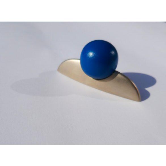 Metall-Holz-Möbelgriff, Nickel matt - Blau , Bohrung 32 mm