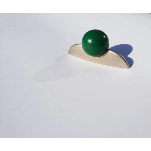 Fém-Fa Bútorfogantyú, Matt Nikkel - Zöld, 32 mm furattáv
