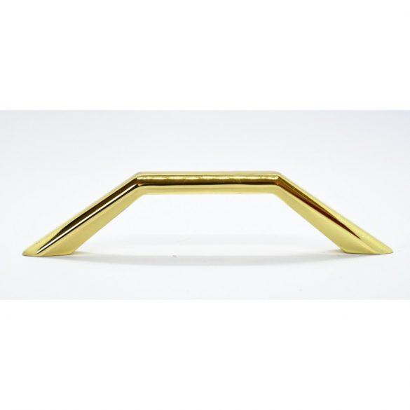 Fém, arany színű bútorfogantyú, 128 mm furattávolság