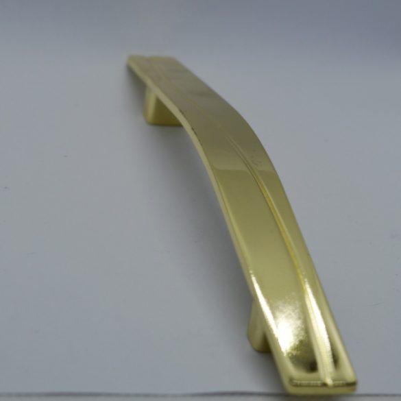 Fém, arany színű bútorfogantyú, 128 mm furattáv