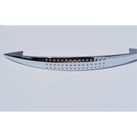 Metal furniture handle with shiny chrome finish