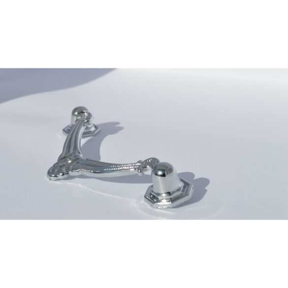 Rustic style metal furniture handle in shiny chrome colour