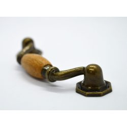 Furniture handle in golden oak colour, metal-wood material