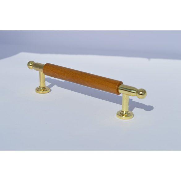 Fém-fa bútorfogantyú, arany - pácolt tölgy kombináció, 96 mm furattáv