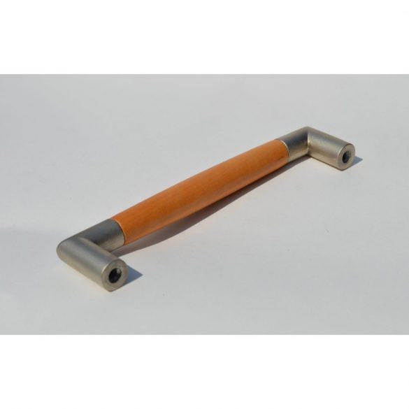 Fém-fa bútorfogantyú, matt nikkel - éger színű, 128 mm furattávval